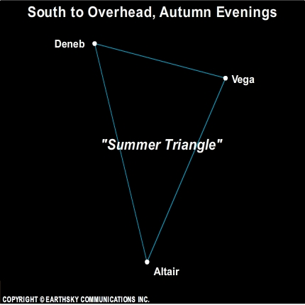 10sep27 430 EarthSky Tonight—September 27,  Summer Triangle high overhead on autumn evenings