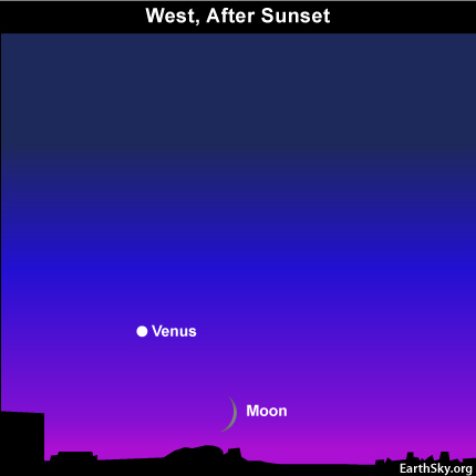 10sept10 430 EarthSky Tonight—September 10,  Moon waxes as Venus wanes in September evening sky