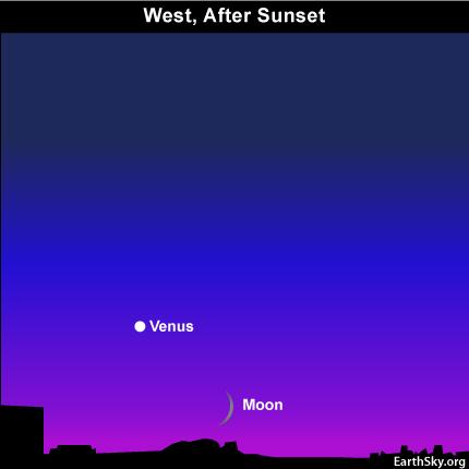 10sept10 430 EarthSky Tonight—September 10,  Moon waxes as Venus wanes in September evening sky