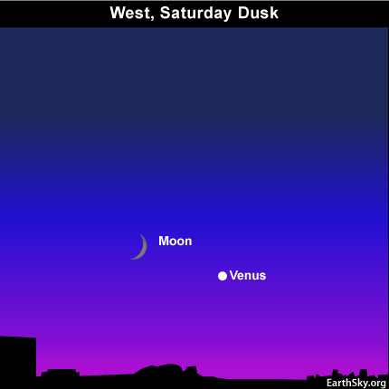 10sept11 430 EarthSky Tonight—September 11,  Moon and Venus low in west at dusk