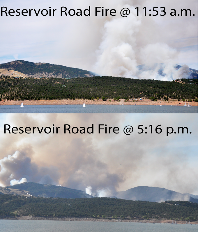 Fire at 5 comparison Reservoir Road Fire, Sunday evening update
