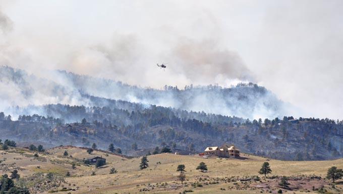 Fire scene from dam 77801 Reservoir Road Fire, Sunday evening update