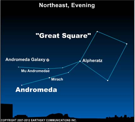 10oct03 430 EarthSky TonightOct 3,  Find the Andromeda galaxy on dark autumn nights 