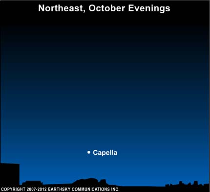 10oct06 430 EarthSky Tonight—Oct. 6, Golden Capella sparkles red and green in October