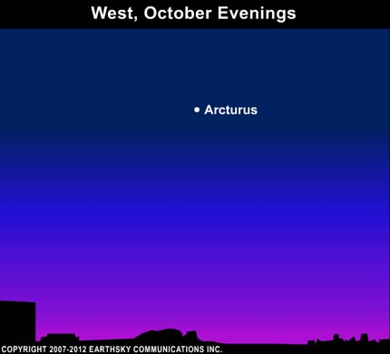 10oct12 430 EarthSky Tonight—October 12,  Arcturus sparkles in western sky on October evenings