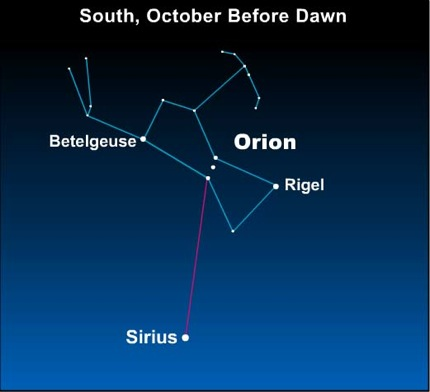 10oct15 430 EarthSky Tonight—October 15,  See the sky's brightest star, Sirius, before dawn