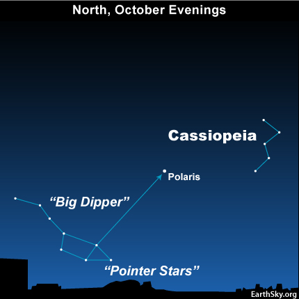 10oct16 430 EarthSky Tonight—October 16, See Cassiopeia and Big Dipper on autumn evenings