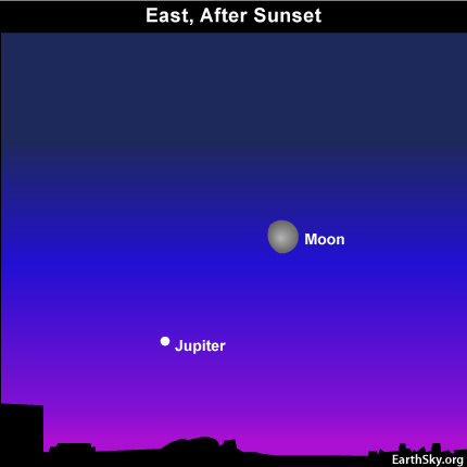 10oct18 430 EarthSky Tonight—October 18,  Bright object near moon is Jupiter