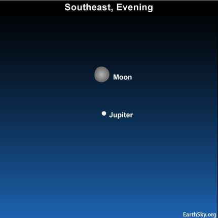 10oct19 430 EarthSky Tonight—October 19, Moon and Jupiter close on sky's dome