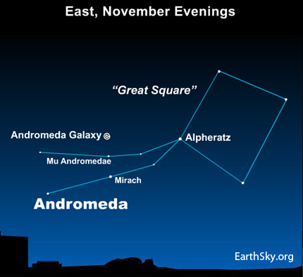 10nov02 4301 EarthSky TonightNov 2, Use Great Square of Pegasus to find Andromeda galaxy 