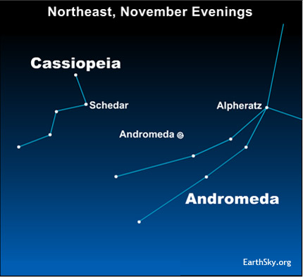 10nov09 430 EarthSky Tonight—Nov 9, Use constellation Cassiopeia to find Andromeda galaxy