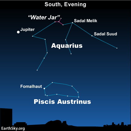 10nov25 430 EarthSky Tonight—Nov 25, Find the Water Jar of Aquarius to the west of Jupiter