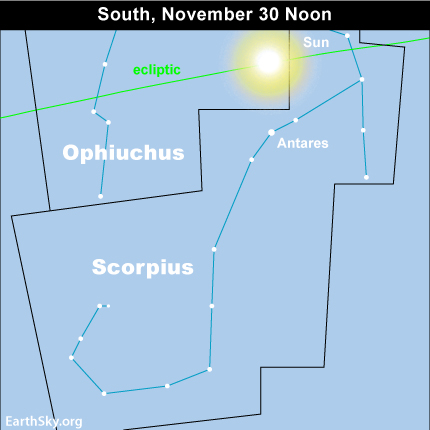 10nov30 430 EarthSky Tonight—Nov 30, Sun in Ophiuchus until December 17