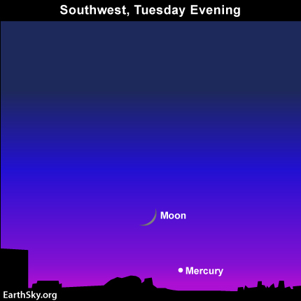 10dec07 EarthSky Tonight—Young moon and Mercury after sunset