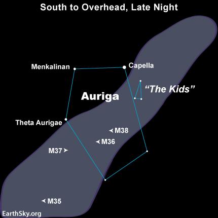 10dec10 EarthSky Tonight—December 10, Celestial Chariot high overhead at midnight