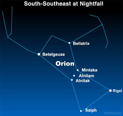 10dec14 December 14, Focus on stars Betelgeuse and Rigel in Orion 