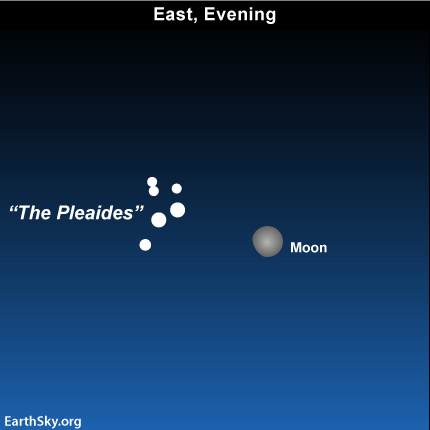10dec18 EarthSky Tonight—December 18, Moon glides by Pleiades cluster