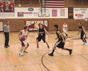 Jesse Queen 2 Berthoud High Boys Basketball Fall to Roosevelt 74 45