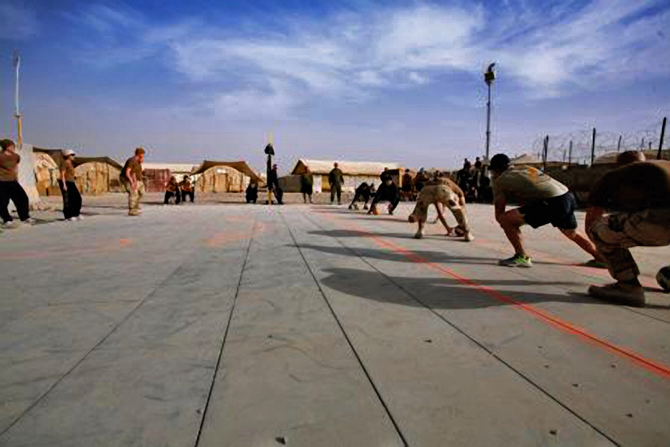 Marines play dodge ball Christmas in Afghanistan