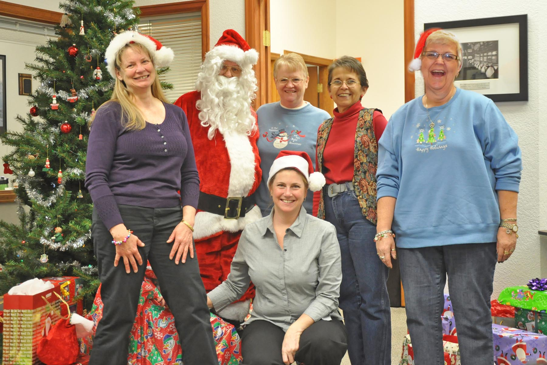 Town Staff and Santa Santa Clause goes to school