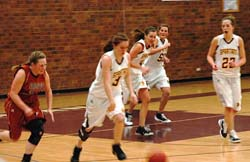 McGinn steals in 3rd period Berthoud Girls Basketball Rolls Over Mead