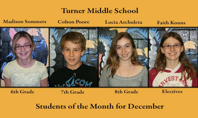 Turner SOM Dec feature1 Turner Middle School, December Students of the Month