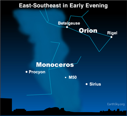 jan 06 Sky Tonight—January 6, Use bright stars to find faint Monoceros the Unicorn