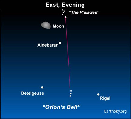 jan15 Sky Tonight—January 15, Moon near Aldebaran and the Pleiades