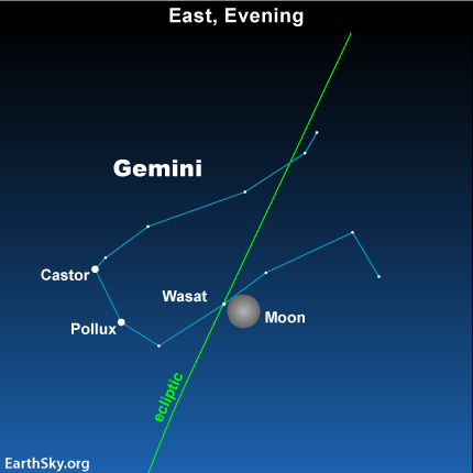 jan18 Sky Tonight—January 18, Moon near Gemini stars Castor and Pollux