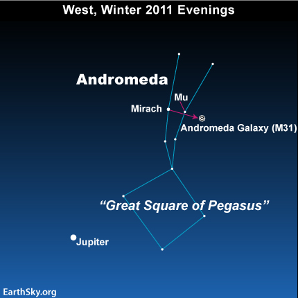jan31 Sky Tonight—January 31, Star hop from Great Square of Pegasus to Andromeda galaxy