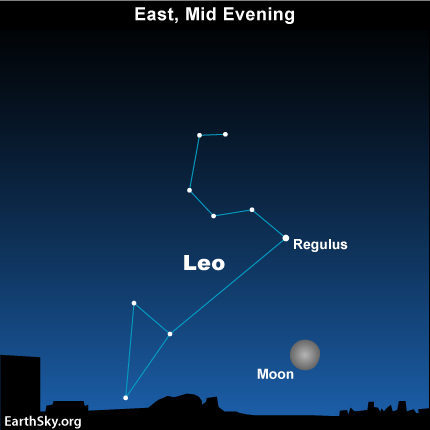 11feb18 430 Sky Tonight—February 18, Moon rises with Leo the Lion, harbinger of spring