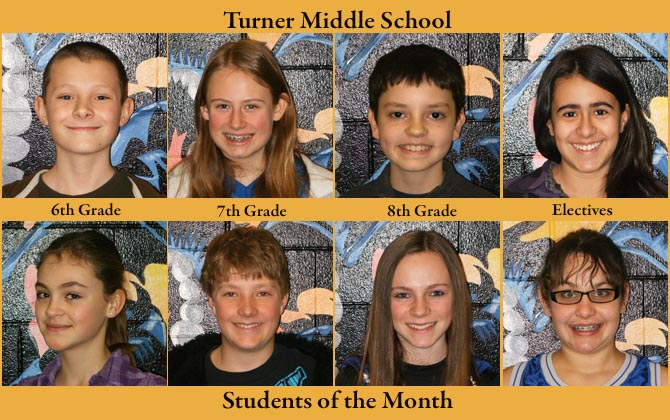 Turner SOM Jan Turner Middle School, Students of the Month
