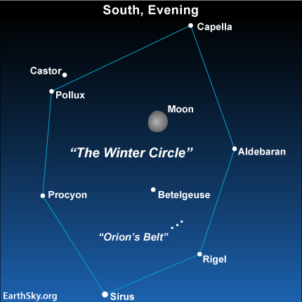 feb13 Sky Tonight—February 13, Moon points the way to Winter Circle