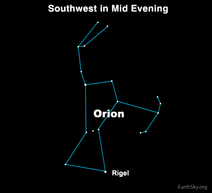 feb14 Sky TonightFebruary 14, Blue white Rigel is at the foot of Orion