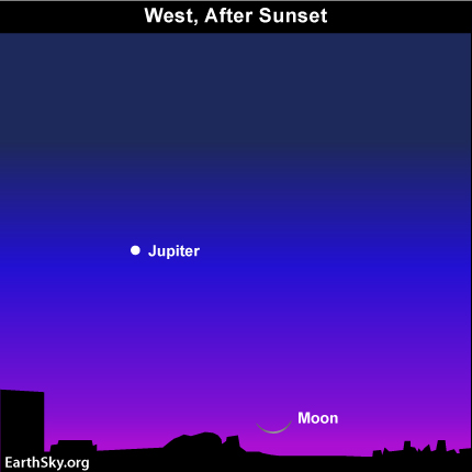 mar05 Sky Tonight—March 5, Young moon and Jupiter low in west after sunset