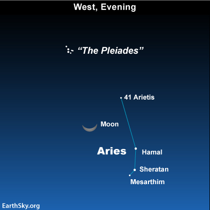 mar09 Sky Tonight—March 9, Moon between Pleiades and Ram's Head