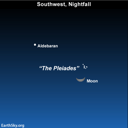 mar10 Sky Tonight—March 10, Moon shines close to Pleiades star cluster