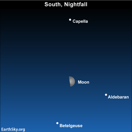 mar12 Sky Tonight—March 12, Moon between Capella and Betelgeuse