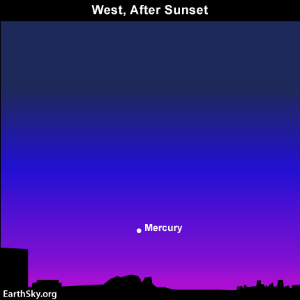 mar21 Sky Tonight—March 21, As Mercury sets, zodiacal light shines faintly in western sky