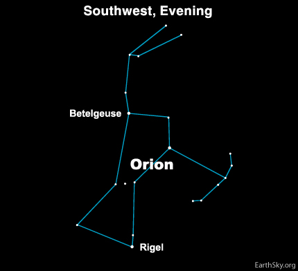 mar251 Sky Tonight—March 25, The westward shift of Orion and all the stars