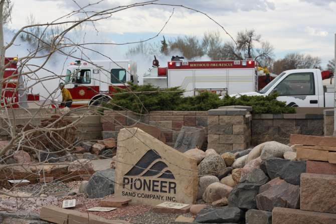 3756 sign Fire at Pioneer Sand and Gravel