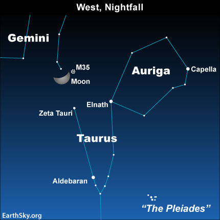 Apil09 Sky Tonight—April 9, Moon can guide you to objects in Taurus and Gemini