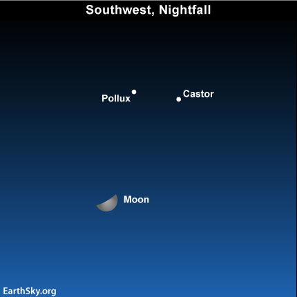 Apr10 Sky Tonight—April 10, Moon approaching Gemini stars