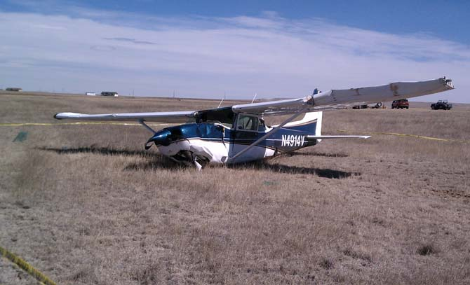 Crashed Cessna1 Light Plane accident at Owl Canyon Gliderport