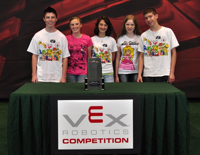 Mario Warriors Local High School Team wins robotics trophy