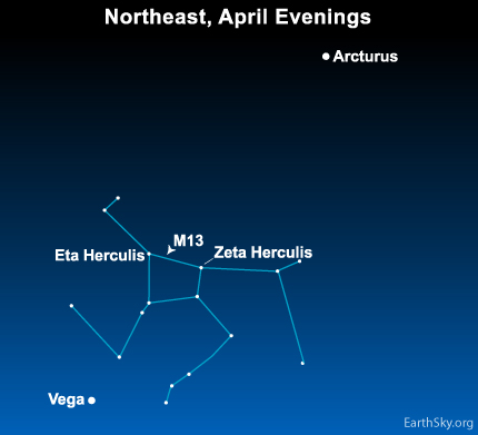 apr23 Sky Tonight—April 23, Two stars lead to constellation Hercules