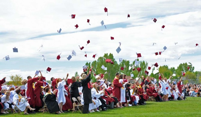 3457 mortorboard toss 670x393 Photos from Berthoud High School Graduation