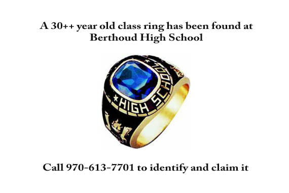Lost ring Class ring found at high school