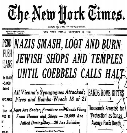 NYTimes Kristallnacht1 On This Day, November 9, 1938