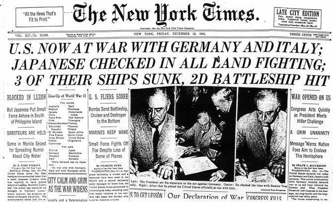 411212DecofWarGerItal On This Day: December 11, 1941